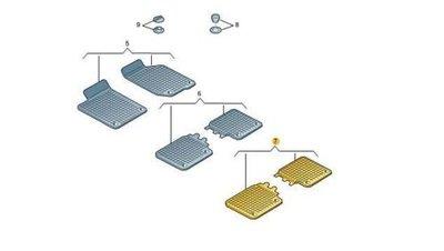 rubber vloermat mattenset mat set 3e rij achter Sharan 2011+